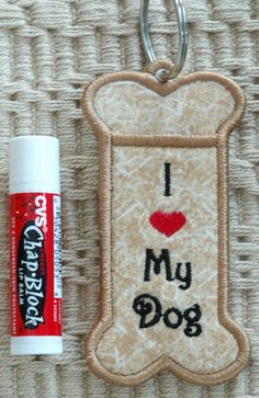 In The Hoop :: Key Rings, Key Fobs :: Dog Bone Key Ring Chapstick Holder - Embroidery Garden In the Hoop Machine Embroidery Designs