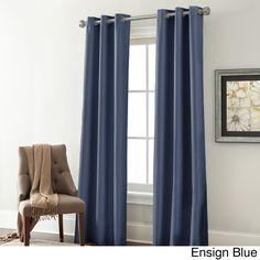 Textured Blackouut Curtain Panel Pair (Ensign Blue), Size 37 x 84 (Microfiber, Solid)