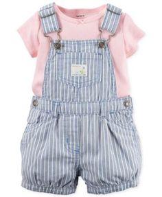 Carter's Baby Girls' 2-Piece Stripe Shortall & Pink T-Shirt Set