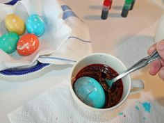 How to Dye Easter Eggs w/ a Marbled Effect >> http://www.hgtv.com/handmade/how-to-dye-marbleized-easter-eggs/index.html?soc=pinterest