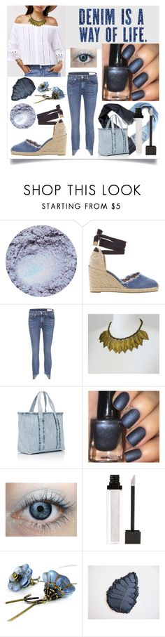 """""""Blue Denim"""" by bunnyfindsvintage ❤ liked on Polyvore featuring Castañer, rag & bone, Therapy, Carlo Zini, Barneys New York, Forever 21, vintage, denim and festival"""