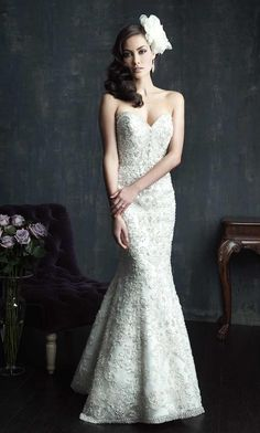Amazingly beautiful, fit and flare, strapless, sweetheart neckline, wedding dress from Allure Bridal. Front view.