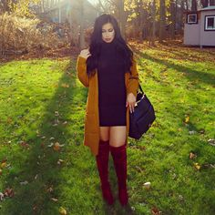 Mustard and burgundy over the knee boots Over The Knee Boot Outfit, Knee Boots, Fall Winter Outfits, Autumn Winter Fashion, Burgundy Knee High Boots, Curvy Outfits, Fashion Outfits, Bota Over, Short Women Fashion