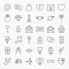 Dia dos Namorados grande conjunto de ícones de linha vetor e ilustração royalty-free royalty-free