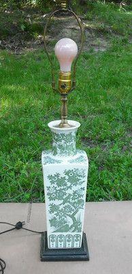 """VTG Oriental Porcelain Vase Table Lamp 28"""" Tall Wood Base Green Floral Square"""