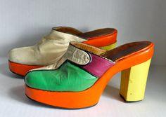 vintage 60s/70s color block clogs // leather // by RedTuTuRetro, $65.00