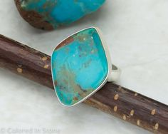 Turquoise Ring 7 1/2 Sterling Silver by ColoredInStone on Etsy