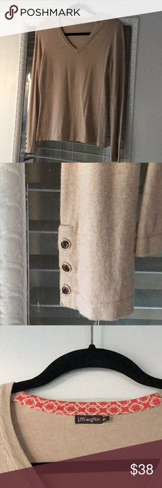 J McLaughlin V Neck Sweater in Tan Medium A closet staple in the perfect shade of tan v neck sweater by J McGlaughlin. 3 cute button detail in tiger eye & gold at bottom of sleeves. Both soft, form flattering and warm. Hand or machine washable! Size M. J McLaughlin Sweaters V-Necks