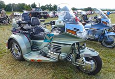 a of year so it's not a 'classic' yet, but for sure it will be one day! Seen at the 'White Dove' Collectors Transport Show which was a Marie Curie charity event held at Kingsley sports ground near Bordon, Hampshire Honda Trike, Goldwing Trike, Trike Motorcycle, Bike, Old School Chopper, Buckets, Mobiles, Cars Motorcycles, Retirement