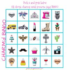 CHARM'd BINGO. Origami Owl. Great for online parties!!!   Have your guests pick 5 charms (any 5- not in line). And comment below the pic.   You keep calling / posting charms until you have a BINGO  Charm bingo  online jewelry bar facebook game online party game