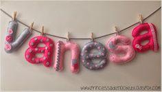 PrincessaDeNoche: Conjunto de cuadro y nombre en fieltro para niña