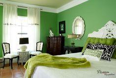 Energizing bright grasshopper green bedroom decor