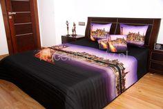Czarna narzuta na łóżko do sypialni z ognistym mostem