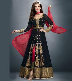 Black Faux Georgette Embroidered Anarkali Suit