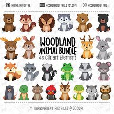 Check out our animal baby shower clipart selection for the very best in unique or custom, handmade pieces from our shops. Planner Stickers, Tribal Animals, African Animals, Woodland Nursery Decor, Woodland Baby, Forest Animals, Woodland Animals, Scrapbooking Invitation, Animal Crossing