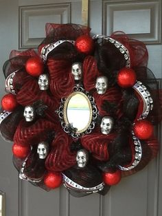 Halloween mesh wreath Halloween wreath for front door
