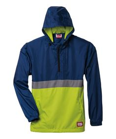 Look what I found on #zulily! Navy & Wow Lime Anorak Jacket - Men by ASICS #zulilyfinds