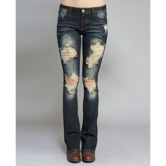Machine Jeans  Machine Destroyed Boot Cut Jeans ($37) ❤ liked on Polyvore featuring jeans, dark destroyed, wet seal, destructed jeans, bootcut jeans, distressed bootcut jeans and torn jeans