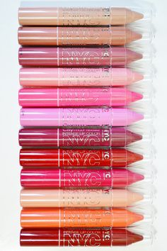 NYC City Proof Twistable Intense Lip Colors in Nolita Neutral, Brooklyn Brown Stone, Riverside Rose, Parsons Pink, Fulton St Fuchsia, Metropolitan Mauve, Gramercy Park Plum, South Ferry Berry, Ballroom Blush, Park Slope Peach, Canal St Coral, and Roosevelt Island Red www.lustforlipgloss.com