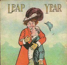 1908 Leap Year ... Antique Postcard. Lady Captures Guy.