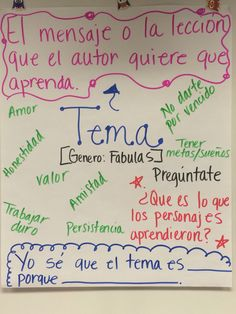 Spanish Anchor Charts, Theme Anchor Charts, Reading Anchor Charts, Dual Language Classroom, Bilingual Classroom, Bilingual Education, Spanish Teaching Resources, Spanish Language Learning, Language Arts