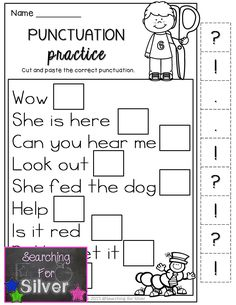Punctuation practice for FIRST GRADE. Lots of other literacy NO-PREP printables for back to school!!