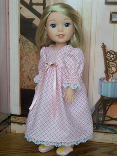 Wellie Wisher Nightgown and Slippers /  Doll by Farmcookies
