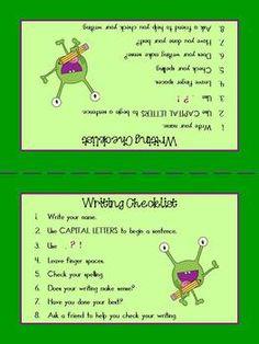 Writing Checklist Visual Freebie!