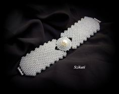 Items similar to Beaded pearl & seed bead Right Angle Weave cuff bracelet, wedding jewelry, bridal bracelet, OOAK on Etsy