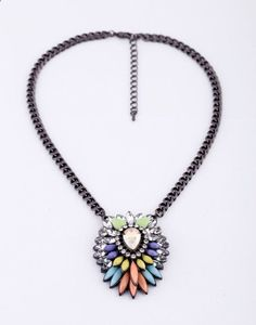 Statement Pendant Necklace With Colorful Artificial Gemstones And Alloy Chain