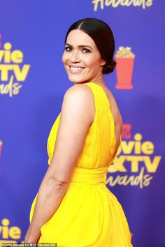 Mandy Moore dons yellow dress at MTV Movie & TV Awards, three months after giving birth | Daily Mail Online Dandelion Yellow, Tv Awards, Mandy Moore, Female Actresses, Yellow Dress, Mtv, Movie Tv, Formal Dresses, Mail Online