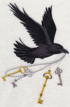 Raven Flying with Skeleton Keys by EmbroideryEverywhere on Etsy, $13.99