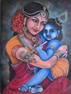 Yashoda & Baby Krishna by Champa Srinivas Art & Design Lord Krishna Wallpapers, Radha Krishna Wallpaper, Radha Krishna Images, Lord Krishna Images, Krishna Pictures, Krishna Art, Kerala Mural Painting, Tanjore Painting, Indian Art Paintings