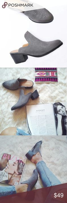 //The Janis//  Grey Vegan leather Mules Trend Alert!! These adorable mules are going to be you're go to statement shoe this fall. They will pair well with almost everything in your closet such as cropped denim jeans and a slouchy knitted sweater or a cute winter boho chic dress. Bring out your inner bohemian girl out this fall/winter. Brand new Never been worn Comes in original box No trades!! Price is firm!! Many more sizes available Strut! Shoes Mules & Clogs