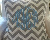 Custom Monogrammed Gray & White Chevron Throw Pillow Cover