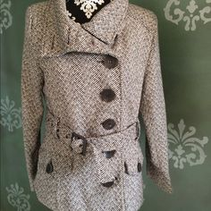 Jacket Like new Brown tweed button up jacket with belt. Very cute and light weight lined jacket Last kiss Jackets & Coats