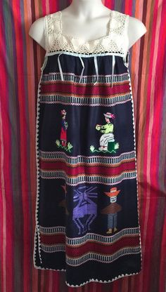 vtg South American Folk Ethnic Peasant Boho Wool Embroidered Dress M 36 Bust #Unbranded #Shift #Casual