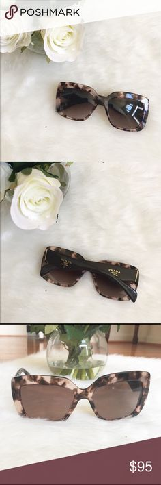 """Prada Havana Tortoise Sunglasses Gently Used/ Great condition (light/hardly noticeable scratches on front frame, lens & temples)   Authentic Prada Havana Grey Sunglasses features light black ombre lenses, tortoise colored frames with a slight cat eye design & brown arms. Gold trim & Prada Milano stamp on arms. Case not included   Made in Italy   Style/Serial number: SPR 03Q-A ROJ-0A6 140 2N   Measurements (approx): Height: 2"""", Length: 5.5""""   100% UV Protection   Ships within 1 business day…"""