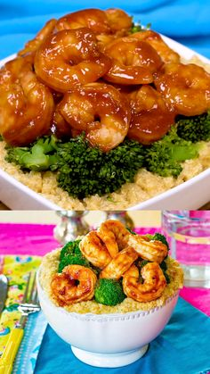 BBQ Shrimp Quinoa Bowls are a healthy dinner idea for tonight or any night! With sauteed shrimp in BBQ sauce, broccoli and cheesy quinoa, this gluten free quinoa bowl recipe becomes a kid-friendly meal! Quinoa Broccoli, Shrimp And Broccoli, Broccoli Recipes, Shrimp Recipes, Sauteed Shrimp, Shrimp And Quinoa, Quinoa Bowl, Healthy Recipe Videos, Healthy Dinner Recipes