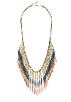 Alloy Mate Necklace - Multi, Solid, Tassels, Boho, Urban, Festival, Gold Mod Cloth