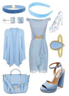"""Cinderella Blues"" by msmith22 ❤ liked on Polyvore featuring Ice, Balmain, Steve Madden, Swarovski, Annette Ferdinandsen, Blue, cinderella, lightblue, Periwinkle and dillydilly"