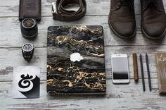 "Gold and Black Marble Skin for Apple Macbook Air & Mac Pro Retina, New Macbook 12"" , Toshiba HP Dell Asus Acer Lenovo Samsung"