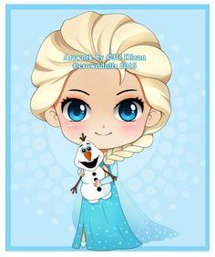 comm: Elsa and Olaf chibi by crowndolls