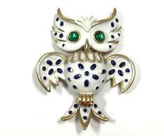Crown Trifari 1967 Precious Pets Series Enamel Owl Brooch Pin figural HOOT!! #DellaGraces Vintage Jewelry on Ebay