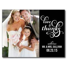 Fancy Script Wedding Thank You Postcard | Black