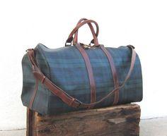 bdba9f6026cb Vintage Ralph Lauren Black Watch Tartan Plaid Large Duffle Bag w Cognac  Leather Trim