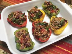 These colorful vegan stuffed peppers are perfect for lunch or dinner. You can pair it with many side dishes for a complete meal but works just fine alone.