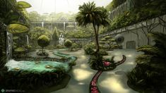 Garden environment illustration Garden Planning, Game Design, Aquarium, Scenery, Sci Fi, Environment, Neon, Concept, World