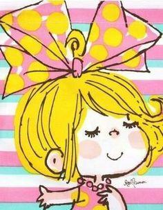 水森亜土 Japanese Illustration, Cute Illustration, Cartoon Sketches, Picture Cards, Classical Art, Japan Art, Cute Little Girls, Colorful Drawings, Illustrations And Posters
