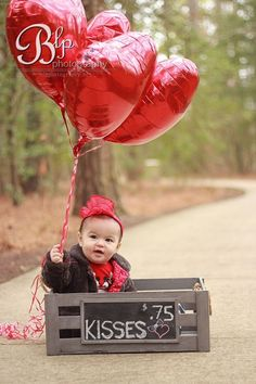 Valentine Baby Session crate - balloons - valentines - baby - photo shoot - photography - girl - red - outdoor http://blpphotography.net  BLP Photography